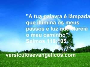 """""""A tua palavra é lâmpada que ilumina os meus passos e luz que clareia o meu caminho"""".  Salmos 119:105"""